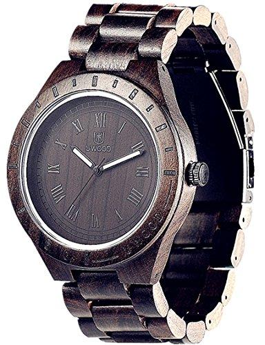 Herren Uhren Sale aus Holz Quarz Natürliche Schwarz Sandelholz