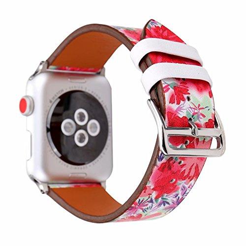 Preisvergleich Produktbild Apple Watch Armband 38mm,  Outter Smart Leder Armband Blumenmuster Echtleder Uhrenarmband mit Classic Schnalle Einstellbares Ersatzband für Apple iWatch Series 3 Series 2 Series 1 - Su Embroidery