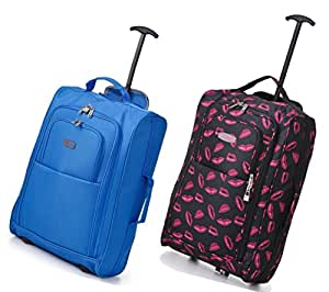 Set of 2 Frenzy/5Cities 55cm/50cm Lightweight Trolley Hand Luggage Bag - Approved Ryanair & Easyjet 2 Wheel Cabin Carry On Board Baggage. 33L/42L Travel Suitcase Bag with Padlock (Blue 50CM/Lips 55CM)