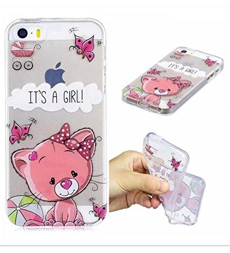 Iphonese/5/5S Shell Wyrhs cover protettiva in silicone morbido silicone box ultra-sottile trasparente Shell antiurto scratch–Girl + metallo penna di tocco Pink cat