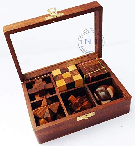 Sara Nautisches Handgefertigt Monkey Pod Spiele 3D Puzzle aus Holz Spielzeug Geschenk-Set in Display Box 6in 1 - Geschenk-boxen 6 Zoll