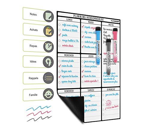 Planning Semaine Format A3 Pour Frigo Par Plan Smart - Calendrier hebdomadaire Tableau Blanc Magnétique - BONUS: 3 Marquers De Qualité