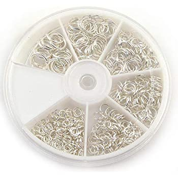 Jump Rings Silver Plated 1500PCs Mix 7 Assorted Sizes In Plastic Storage Box