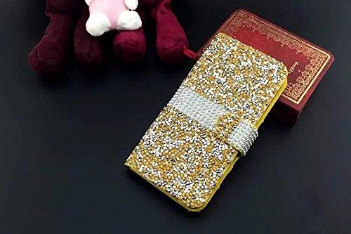 Vandot Bling Diamant Crystal Strass Coque pour Apple iphone 6 6S 4.7 Pouces Coque Etui Housse avec PU Cuir Pochette Portefeuille Case Cover Téléphone Protection Protecteurs D'écran Folio Flip Hull Coq SM-Jaune