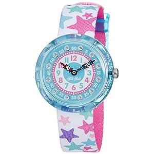 Flik Flak Mädchen Analog Quarz Uhr mit Stoff Armband FBNP081