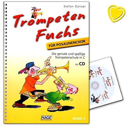 Trompeten Fuchs Band 2, Ausgabe in C für Posaunenchor - geniale und spaßige Trompetenschule in C für Posaunenchor - Trompetenschule mit CD und herzförmiger Notenklammer