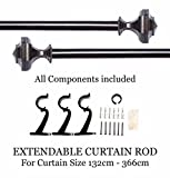 "Deco Window Curtain Rod 66""-120"" Hexagon Metallic Brown"