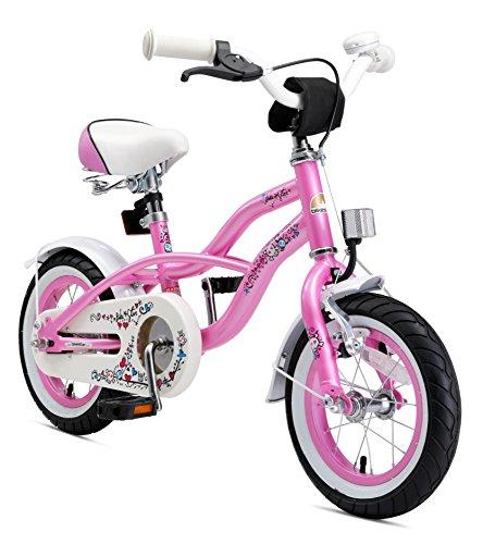 BIKESTAR Premium Sicherheits Kinderfahrrad 12 Zoll f&uumlr M&aumldchen ab 3 - 4 Jahre | 12er Kinderrad Cruiser | Fahrrad f&uumlr Kinder Pink