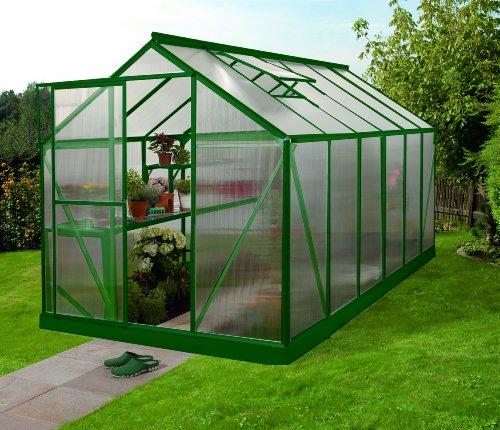 Gartenwelt Riegelsberger Gewächshaus Triton - Ausführung: 7500 HKP 6 mm dunkelgrün, Fläche: ca. 7,5 m², mit 2 Dachfenster, Sockel: 1,90 x 3,77 m