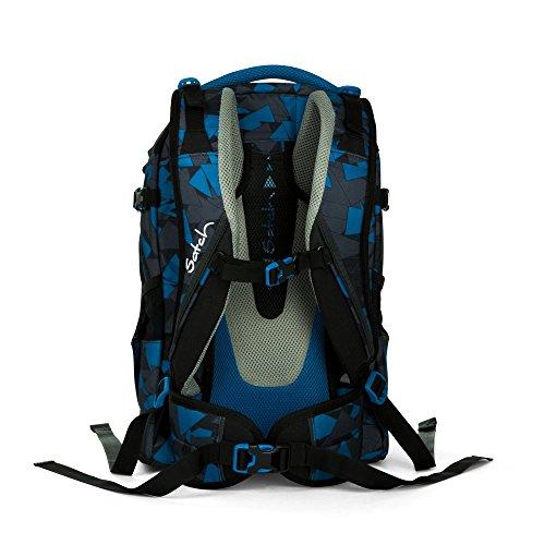 Satch Pack by Ergobag - 2tlg. Set Schulrucksack (+SchlamperBox Etui) - Blue Triangle - 3