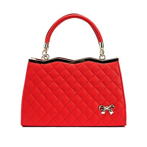 imbettuy Damen Handtaschen -Schulter Crossbody Beutel-weiche Oberfläche PU-Leder-Diamant-Gitter