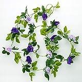 Künstliches Blumenrattan-Balkonzaun Rattan des künstlichen Blumenrattans (Farbe : Deep Purple)