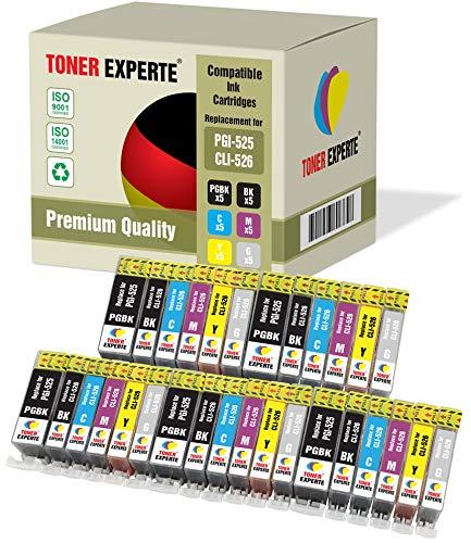 30 XL TONER EXPERTE® PGI-525 CLI-526 Druckerpatronen kompatibel für Canon Pixma MG6150, MG6250, MG8150, MG8250 (5 Pigment Schwarz, 5 Schwarz, 5 Cyan, 5 Magenta, 5 Gelb, 5 Grau) -