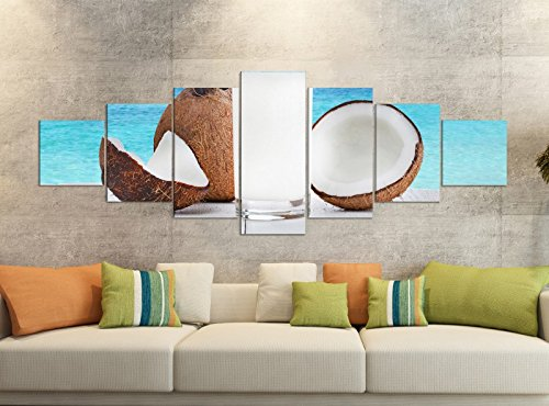 Leinwandbilder 7 Tlg 280x100cm Meer Urlaub Kokos Nuss Cocktail Steg Leinwand Bild Teile teilig Kunstdruck Druck Vlies Wandbild mehrteilig 9YB1139, Leinwandbild 7 Tlg:ca. 280cmx100cm (Sieben Meere-cocktail)