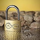 Liebesschloss Vorhängeschloss GOLD inkl. Gravur Motiv unendliche Liebe -