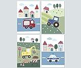 LALELU-Prints Kinderzimmer Bilder 4er Set DIN A4 I Babyzimmer Dekoration Junge I Fahrzeuge (Set07)