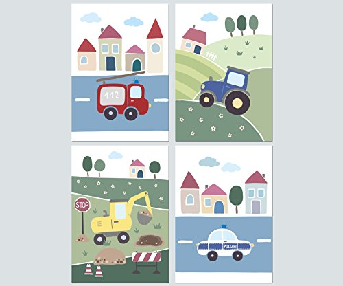 LALELU-Prints 4er Set Poster Kinderzimmer Deko Junge Bilder Fahrzeuge Bagger Traktor Polizei Feuerwehr DIN A4 I Babyzimmer Baby I Wandbilder Kinderbilder Babybilder
