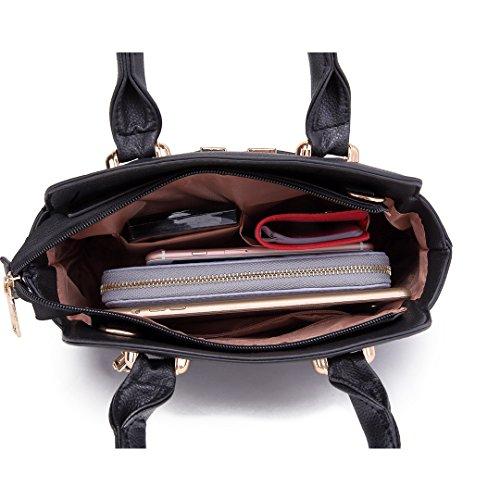 Miss LuLu Damen Handtasche Umhängetasche Shopper Tasche Tote Bag Schultertasche Klein S1718-Schwarz