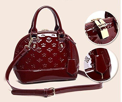 AoBao Ms. pacchetti di trasporto nuovo pacchetto femmina cuoio verniciato lady borsa pacchetto conchiglia piccola borsa donna borse a tracolla (medie :22cm26cm13cm), mini bare di polvere di metallo Mini Bare di polvere di metallo