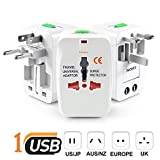 #3: Unifree Universal World Wide Travel Power Plug Adapter/Charger Adapter Plug, EU/AU/UK/US/CN/JP/HK Euro 2016 Surge Protector with Built in USB High Speed Charger Ports (White)