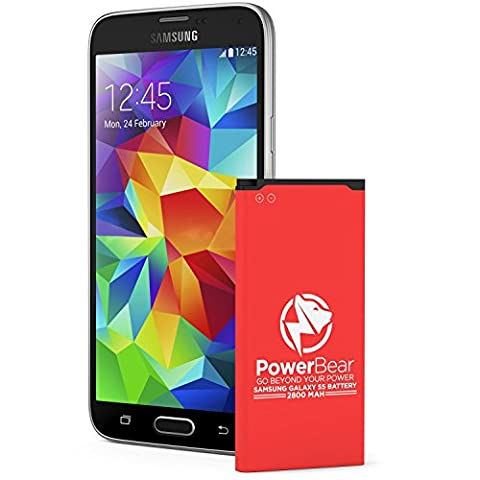 PowerBear Samsung Galaxy S5 Battery | 2,800 mAh Li-Ion Battery for the Galaxy S5 [I9600, G900F , G900V , G900T(O2,EE) ,G900A , G900H/MD (Vodafone), G900 (International)] | S5 Spare Battery [24 Month Warranty]