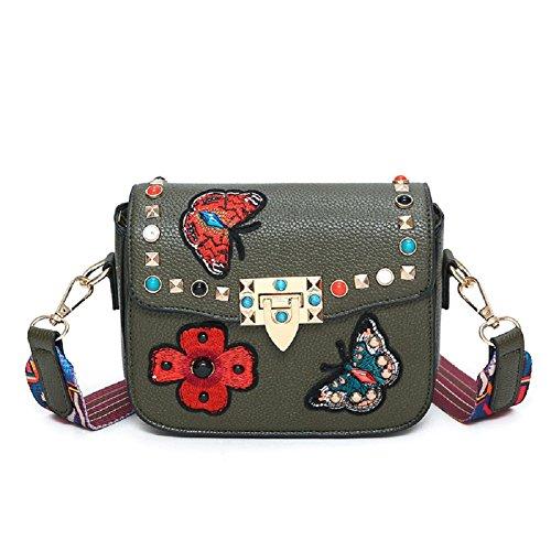 GZHOUSE Stilvolle PU-Leder gestickte Kreuz Körper Schulter Messenger Bag Handtasche mit bunten breiten Strap -