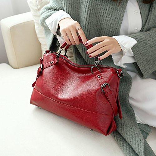 YYW Leather Handbags, Borsa a zainetto donna Red