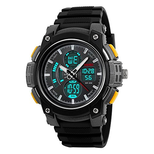 farsler Herren Multifunctional 50 m Wasserdicht Dual Time Display EL Licht Elektronische Armbanduhr Outdoor Sports Herren und Frauen Studenten Schwimmen Tauchen Digital Handschlaufe Armbanduhr (gelb)