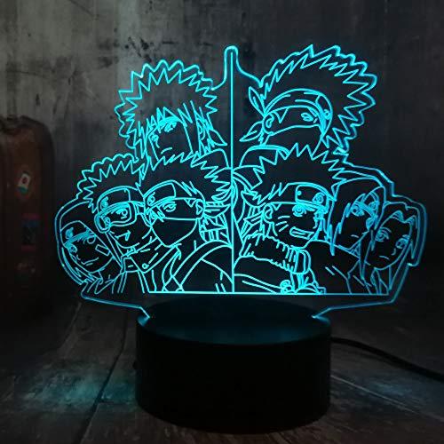 Tianyifengg LED Nachtlicht-3D Vision-Sieben Farben-Fernbedienung-Gruppe Anime Bild Illusion Nachtlicht Schreibtischlampe Kid Geschenk