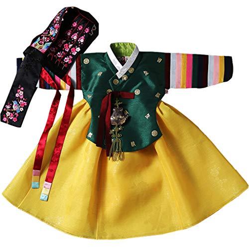Hanbok Korea Traditional Baby Girl Dress Mädchenbekleidung für Mädchen Set (Top + Rock + Hut + Gürtel) Neujahr Erster Geburtstag Event YeRaYeon