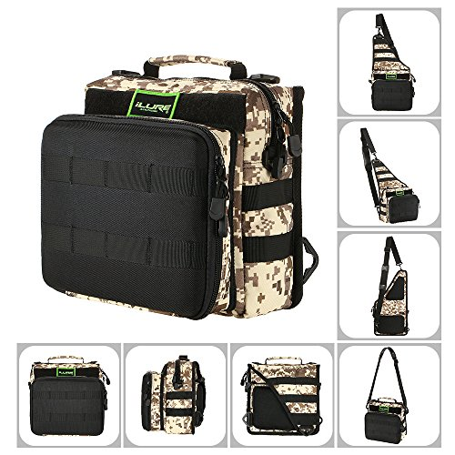 Lixada Borse di Pesca Pesca Tackle Bag Zaino o Crossbody Messenger Borse per il Campeggio Trekking Camouflage2
