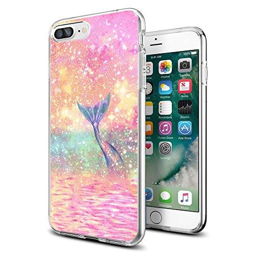 Mermaid Maßstab Cute Wasserdicht iPhone 7/8Plus Anti Drop Case Schutzhülle für Mädchen Herren Damen Cover stoßfest Bumper PC Rahmen für 14cm Designer, Meerjungfrau-Türkis