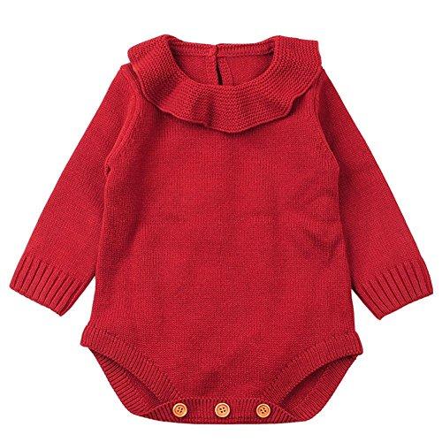 QUICKLYLY Mameluco Punto Invierno Recién Nacido Bebé Niño Niña Manga larga Elástico Mono Peleles Ropa (Rojo, 0~6 Mes(73))