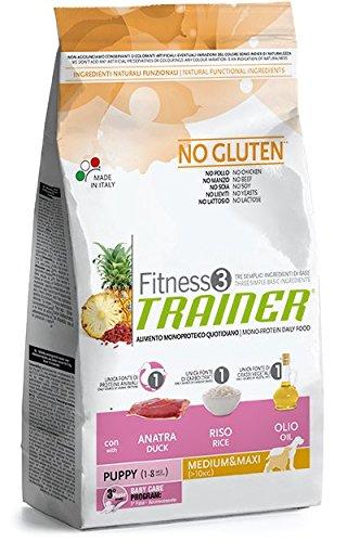 Trainer Fitness 3 No Gluten Puppy Medium&Maxi Anatra Riso Olio 3kg, Multicolore, Unica