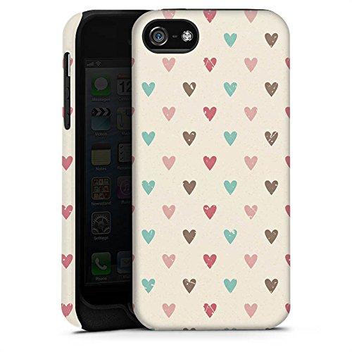 Apple iPhone X Silikon Hülle Case Schutzhülle Herz Retro Muster Liebe Tough Case matt