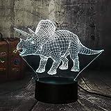 Illusione Ottica 3D Deco lampada LED Desk luce 7 di notte che Cambiano Colore Dinosauro Jurassic World Triceratops