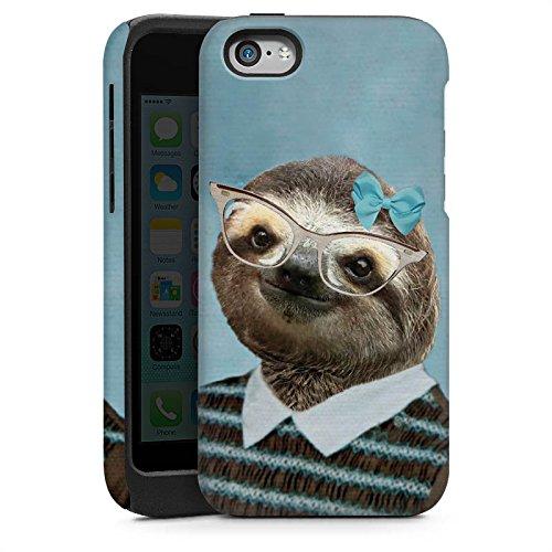 Apple iPhone 4 Housse Étui Silicone Coque Protection Paresseux Paresseux Lunettes Cas Tough brillant