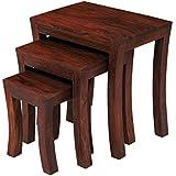 Santosha Dã‰Cor Solid Sheesham Wood Set Of 3 Nesting Table ,Mahogany Finish With Special Pu Polish