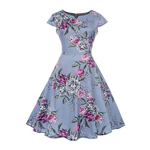 KaloryWee Fashion Women Vintage V Neck Evening Printing Party Prom Swing Dress
