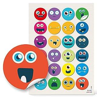 48 runde 4 cm Smilies Gesichter Emoij lustig witzige Kinderaufkleber Aufkleber selbstklebende Sticker Etiketten zum Kindergeburtstag Gesichichtsausdrücke Basteln Mitgebsel give-away humorvoll