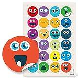 24 runde 4 cm Smilies Gesichter Emoji Smiley lustig witzige Kinderaufkleber Aufkleber selbstklebende Sticker Etiketten zum Kindergeburtstag Gesichtsausdrücke Basteln Mitgebsel give-away humorvoll