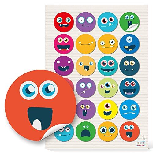 48 runde 4 cm Smilies Gesichter Emoij lustig witzige Kinderaufkleber Aufkleber selbstklebende Sticker Etiketten zum Kindergeburtstag Gesichichtsausdrücke Basteln Mitgebsel give-away humorvoll -