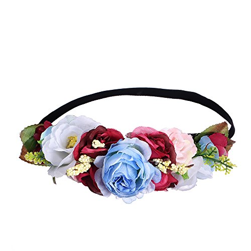 AWAYTR Couronne Garland Bandeau Jupe longue Fleur Accessoires pour Plage Vacances Couronne Forale Bleu + rouge
