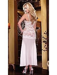 wenrou Sepia encajes pijamas Lencería europea y americana blanco puro vestido de seda Noble ,C,M