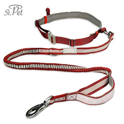Jogging-Hunde-Leine | reflektierend, mit elastischem flexi Gurt | Kein Klackern durch verstärkte Faser Schlaufe | Bauchgurt zum Joggen | Handfrei-Leine | ST. PET (Rot)