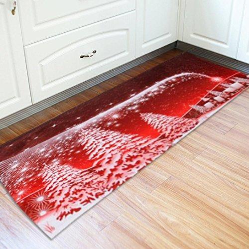Preisvergleich Produktbild Xshuai 60 cm x 180 cm Frohe Weihnachten Santa Schneemann Print Boden Eingang Tür Bad Matte Innen Badewanne Teppich Fußmatten Decor (A)