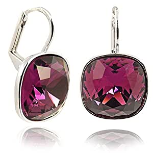 Ohrringe mit Kristallen von Swarovski® Amethyst Beere - Versilbert - in Etui - Made in Germany