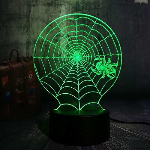 Neue Glanz Hot 3D Halloween Scary Szene LED Nachtlicht Spinnennetz Spinnennetz Net Schreibtischlampe Horror Wohnkultur Kind Weihnachtsgeschenk