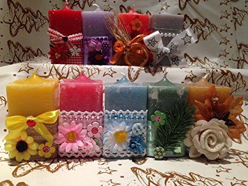 Coloratissime candele decorate per ogni occasione - idea regalo festa della mamma, san valentino, compleanno, anniversario e occasioni varie - shabby chic