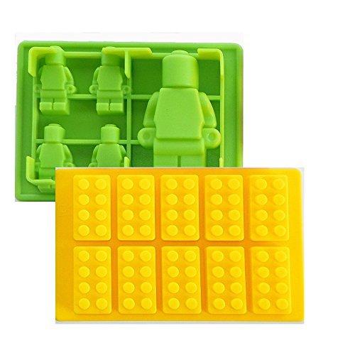 Fondant Formen für kinder Figuren 3d Silikon Ausstechform 2er Set Geeignet für Fondant, Süßigkeiten, Schokolade, Pralinen, Zuckerguss, Marzipan. Antihaft leicht zu saubern Lego Tortenfiguren Schokoladenform Spaß haben in der Küche mit ihren Kindern